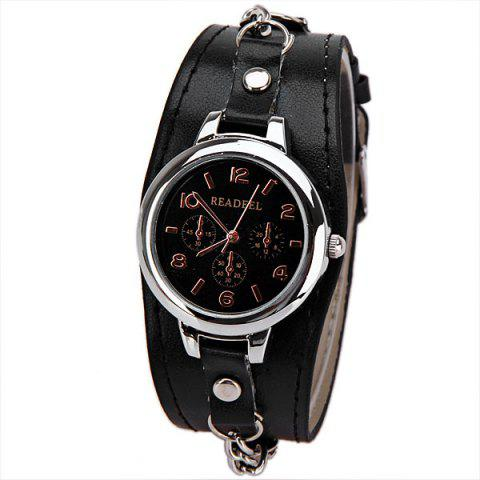 Online Cute Quartz Watch with Arabic Numbers Indicate Leather Watch Band for Women