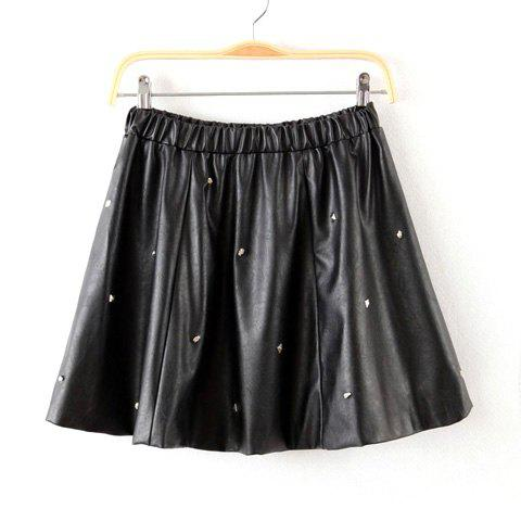 Unique Elastic Waist Nail Bead Ruffles PU Leather Ladylike Women's Skirt