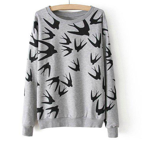 Shop Casual Style Round Neck Swallow Print Contrast Color Long Sleeve T-Shirt For Women