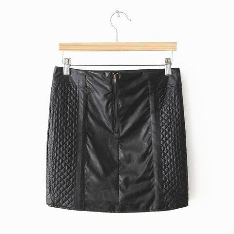 Fancy Solid Color Sexy Style PU Leather Women's Skirt
