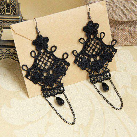 Trendy Pair of Retro Flower Bead Tassel Openwork Drop Earrings - BLACK  Mobile