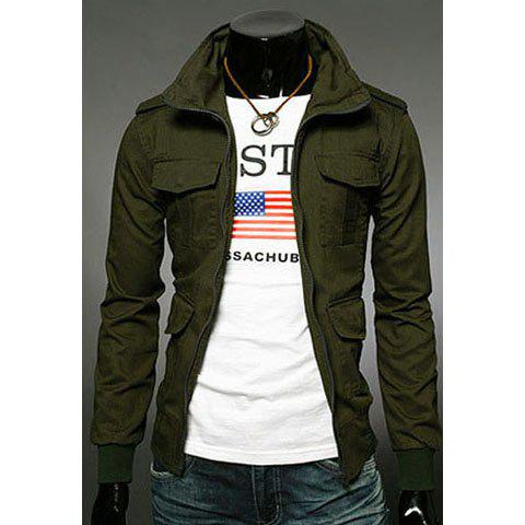 Chic Fashion Slimming Stand Collar Multi-Pocket Long Sleeves Cotton Blend Jacket For Men - L ARMY GREEN Mobile