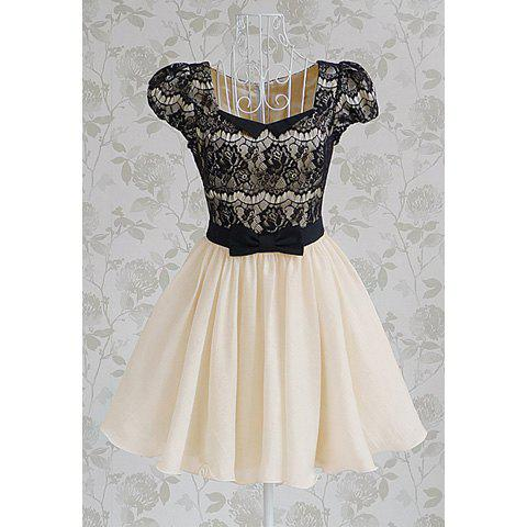Shop Vintage Sweetheart Neckline Lace Splicing Bow Short Sleeves Women's Dress