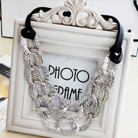 Trendy Exaggerated Style Openwork Collar Shape Design Black Rope Decorated Necklace For Women AS THE PICTURE