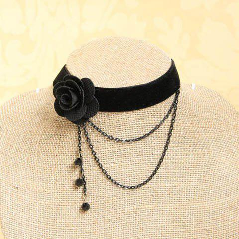Shop Elegant Faux Crystal and Tassel Design Velvet Flower Shape Necklace For Women