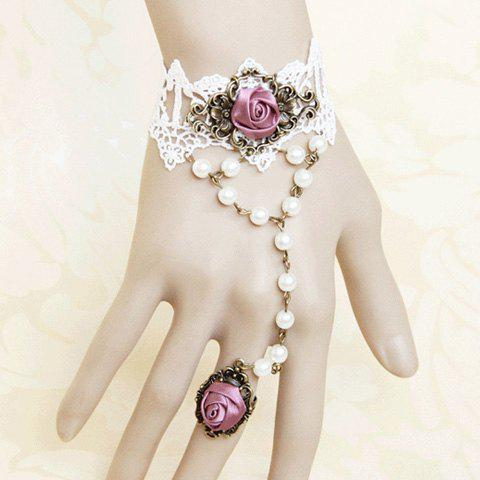 Affordable Vintage Ribbon Rose and Faux Pearl Design Lace Bracelet With Ring