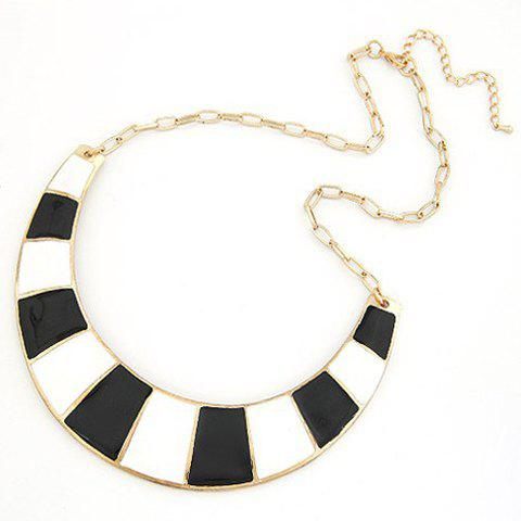 Online Fashion Colored Glazed Crescent Pendant Alloy Necklace For Women - BLACK  Mobile