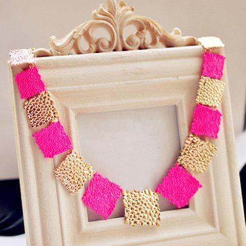 Online Fashion Fluorescence Colored Square Design Necklace For Women - ROSE  Mobile