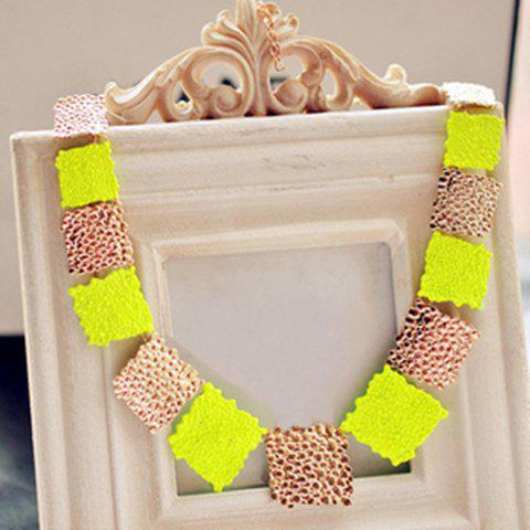 Sale Fashion Fluorescence Colored Square Design Necklace For Women YELLOW