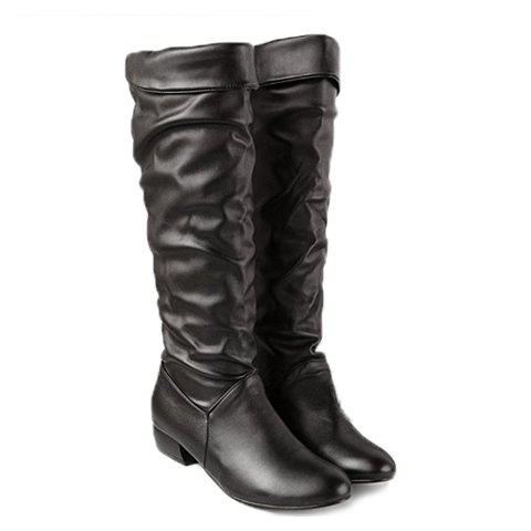 Shop British Style Solid Color and Ruffle Design Women's Knee-High Boots