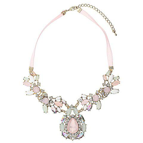 Shops Exquisite Rhinestoned Gemstone Embellished Waterdrop Shaped Pendant Necklace For Women - AS THE PICTURE  Mobile