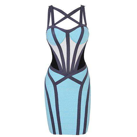Store Straps Criss-Cross Bandage Hollow Out Backless Zipper Beam Waist Packet Buttock Sexy Women's Bandage Dress