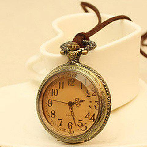 Outfit Vintage Figured Pocket Watch Pendant Sweater Chain Necklace - AS THE PICTURE  Mobile