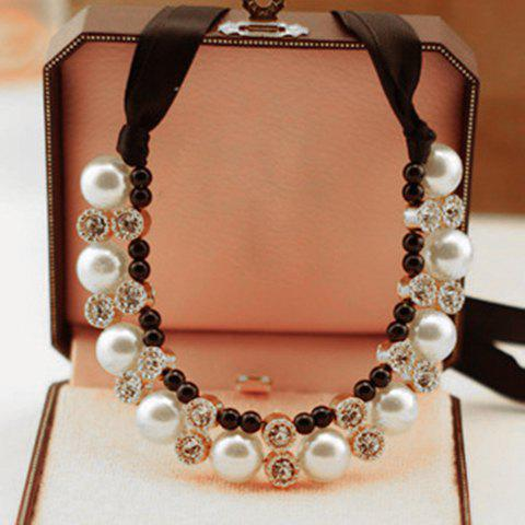 Chic Gorgeous Chic Style Pearl and Rhinestone Decorated Black Ribbon Necklace For Women COLOR ASSORTED