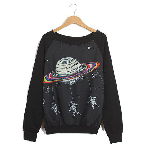 Fashion Raglan Sleeves Scoop Neck Spaceman Pattern Preppy Style Loose-Fitting Casual Women's Sweater