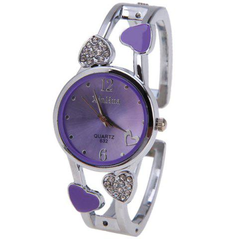 Affordable Beautiful Bracelet Watch with Heart Shape Diamond Inlay Round Dial 2 Arabic Numbers and Mini Heart Dots Hour Marks - Yellow PURPLE
