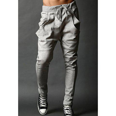 Hot Casual Slimming Lace-Up Large Pocket Solid Color Cotton Blend Pants For Men