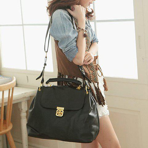 Outfit Trendy Solid Color and Flower Twist-Lock Design Women's Tote Bag