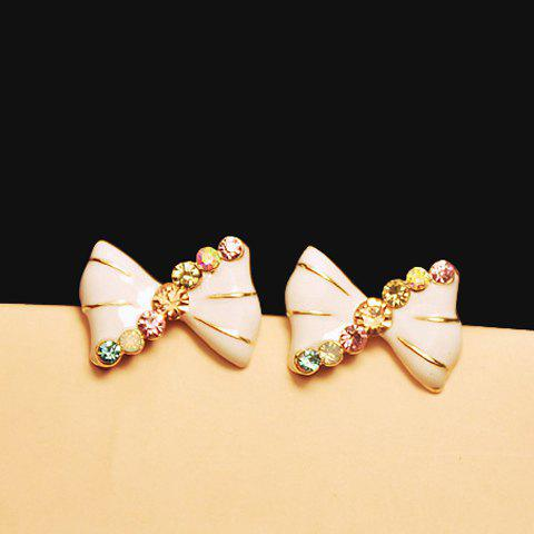 Buy Pair Sweet Colorful Rhinestone Inlaid White Bowknot Decorated Earrings Women