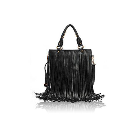 Vintage Style Solid Color and Tassels Design Women's Street Level Handbag - BLACK