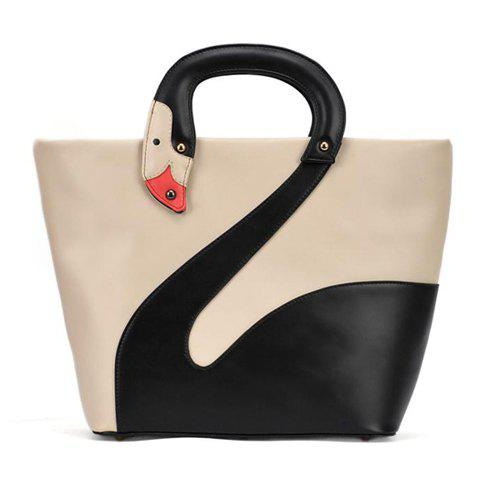 Best Sweet Swan Print and Patchwork Design Women's Tote