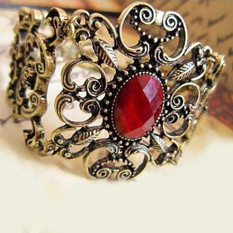 Best Vintage Faux Ruby Inlaid Filigree Flower Bracelet - AS THE PICTURE  Mobile