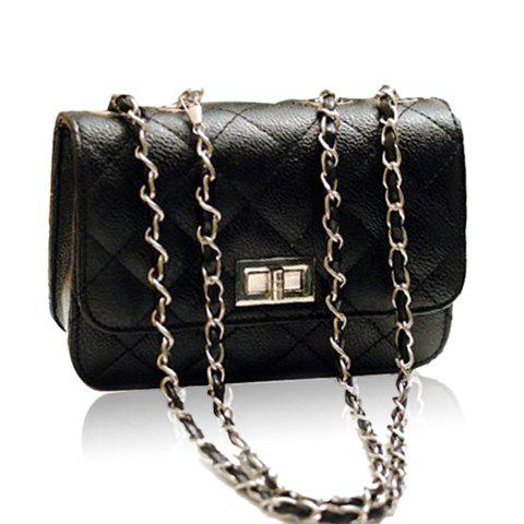 Sale Elegant Solid Color Checked and Chains Design Women's Shoulder Bag