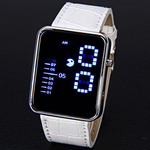 Discount Waterproof Leather Band LED Screen Watches with Blue Light Display Square Shaped Silver Crust - White