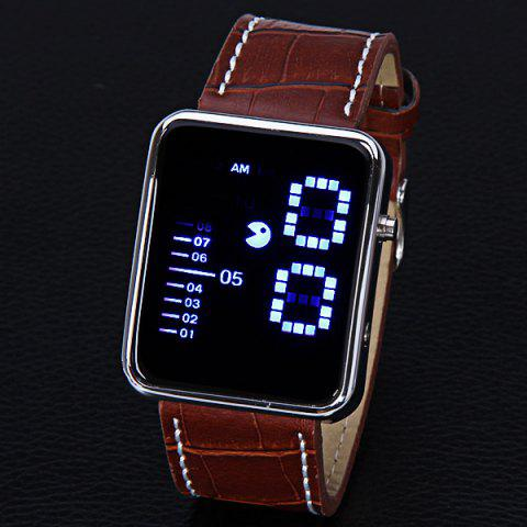 Store Waterproof Leather Band LED Screen Watches with Blue Light Display Square Shaped Silver Crust - White