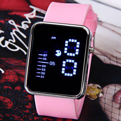 New Waterproof Rubber Band LED Screen Watches with Blue Light Display Square Shaped Silver Crust - Pink