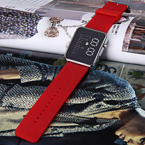 Latest Waterproof Rubber Band LED Screen Watches with Blue Light Display Square Shaped Silver Crust - Pink - RED  Mobile