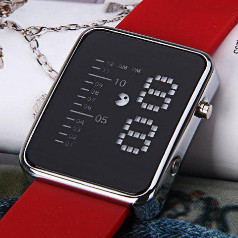 Online Waterproof Rubber Band LED Screen Watches with Blue Light Display Square Shaped Silver Crust - Pink - RED  Mobile