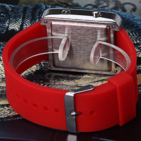 Affordable Waterproof Rubber Band LED Screen Watches with Blue Light Display Square Shaped Silver Crust - Pink - RED  Mobile