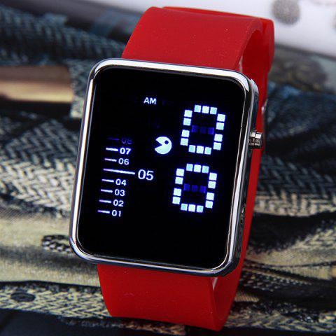 Unique Waterproof Rubber Band LED Screen Watches with Blue Light Display Square Shaped Silver Crust - Pink RED
