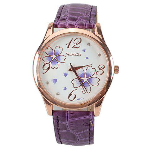 Store No.99653 Quartz Watch with Numbers and Dots Indicate Leather Watch Band Flower Pattern Dial for Women - Blue - PURPLE  Mobile