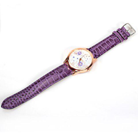 Outfit No.99653 Quartz Watch with Numbers and Dots Indicate Leather Watch Band Flower Pattern Dial for Women - Blue - PURPLE  Mobile