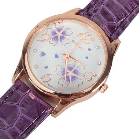 Shops No.99653 Quartz Watch with Numbers and Dots Indicate Leather Watch Band Flower Pattern Dial for Women - Blue - PURPLE  Mobile