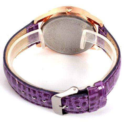 Online No.99653 Quartz Watch with Numbers and Dots Indicate Leather Watch Band Flower Pattern Dial for Women - Blue - PURPLE  Mobile