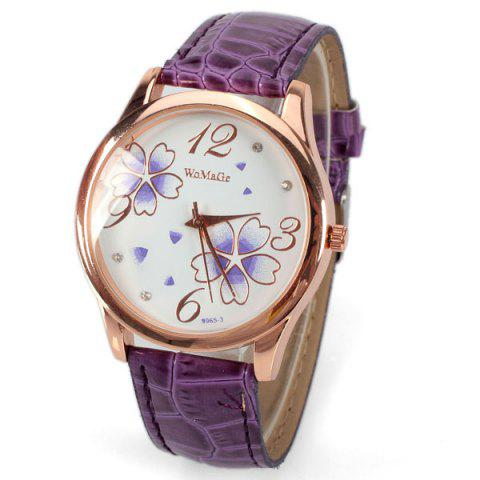 Fancy No.99653 Quartz Watch with Numbers and Dots Indicate Leather Watch Band Flower Pattern Dial for Women - Blue