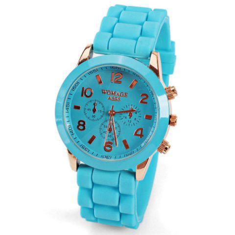 Outfits Quartz Watch 8 Arabic Number and Strips Indicate Rubber Watch Band for Women - Purple BLUE
