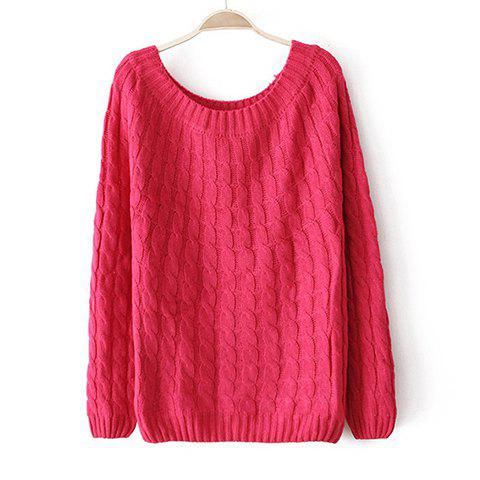 Shop Solid Color Acrylic Long Sleeves Scoop Neck Refreshing Style Women's Sweater