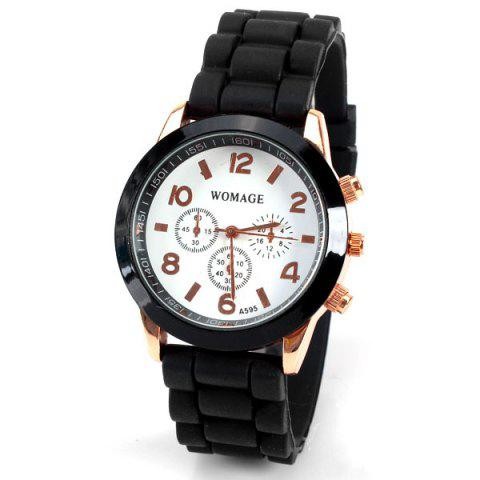 Fancy Quartz Watch 8 Arabic Number and Strips Indicate Rubber Watch Band for Women - Purple