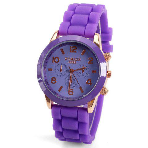 Fashion Quartz Watch 8 Arabic Number and Strips Indicate Rubber Watch Band for Women - Purple