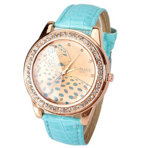 Buy A628 Quartz Watch with 12 Small Diamond Dots Indicate Leather Watch Band Leopard Pattern Dial for Women - Blue