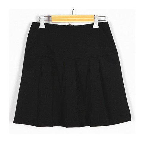 Discount Vintage Solid Color Zip Pleated Skirt For Women
