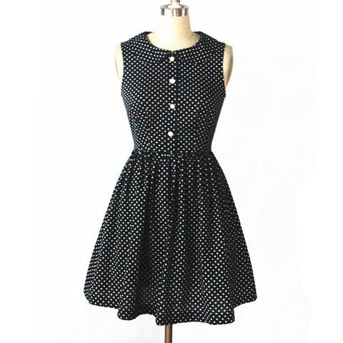 Affordable Vintage Peter Pan Collar Polka Dot Print Sleeveless Dress For Women
