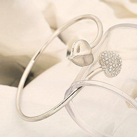 Trendy Chic Style Rhinestone Embellished Heart Shape Twisty Bracelet For Women - SILVER  Mobile