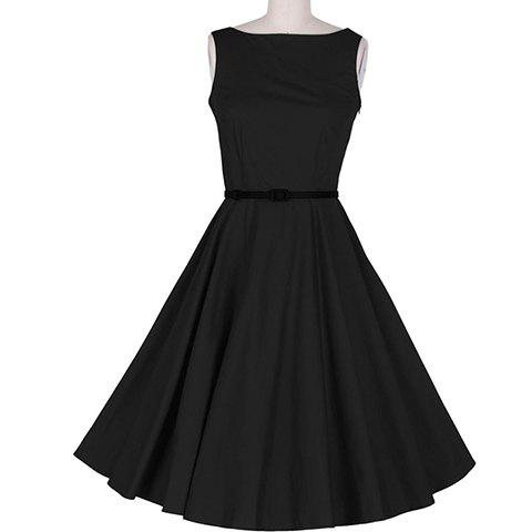 Discount Vintage Sleeveless A Line Midi Dress BLACK S