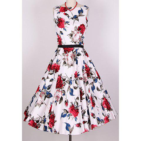 Shops Vintage Scoop Neck Sleeveless Rose Print Pleated Dress For Women RED XL
