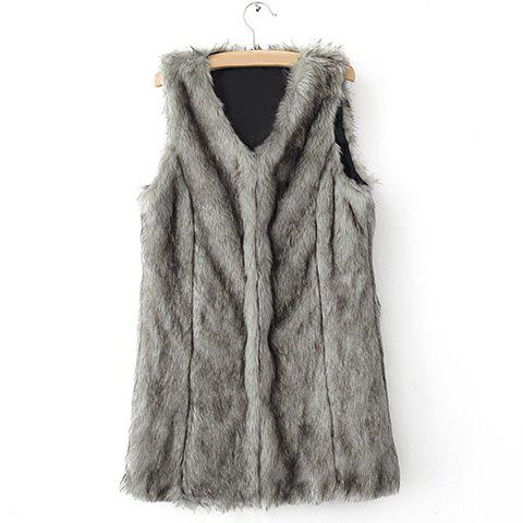 Best Sophisticated Style V-Neck Collar Solid Color Sleeveless Faux Fur Women's Coat